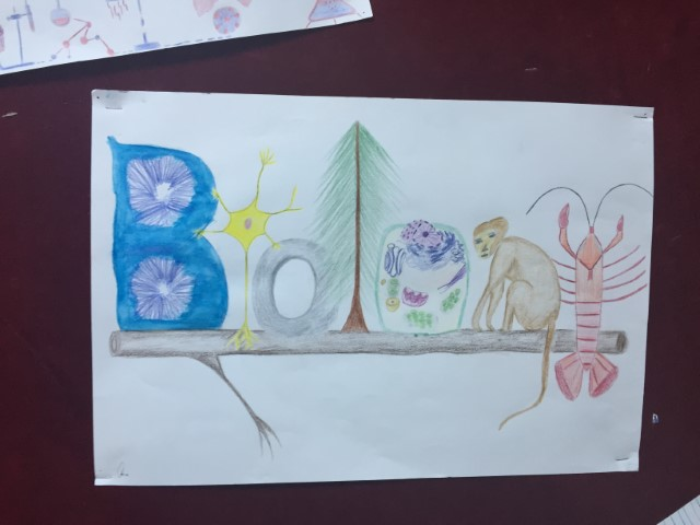 Picture was drawn by one of our smart students and presented in the department science day